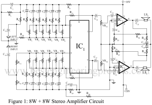 circuit diagram of 8W + 8W stereo amplifier