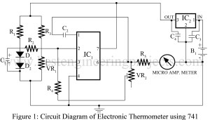 electronic thermometer using 741 IC circuit