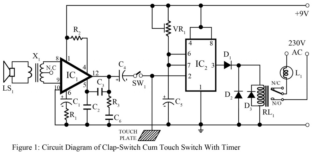 clap switch cum touch switch with timer