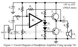 circuit diagram of DIY headphone amplifier