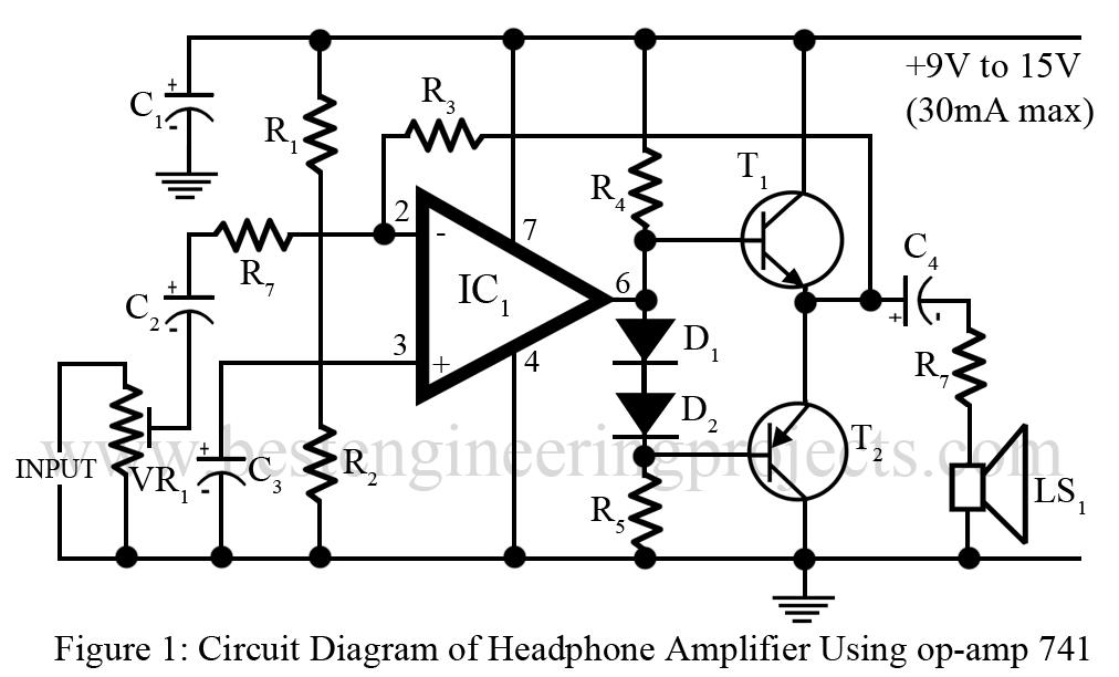 diy headphone amplifier using 741 ic best engineering projects rh bestengineeringprojects com 15 volts amplifier ic circuit diagram Amplifier Circuit Design