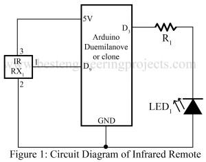 circuit diagram of infrared remote using arduino