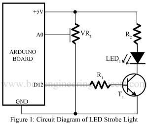 circuit diagram of led strobe light using arduino