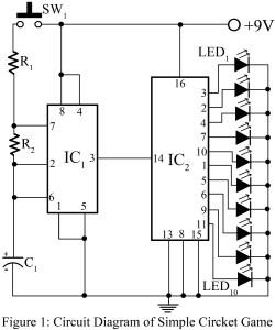 circuit diagram of electronic cricket game