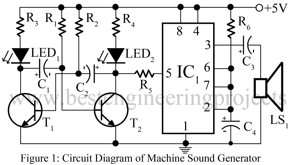 machine sound generator using 555 timer ic