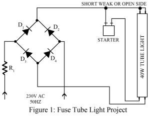 circuit diagram of fuse tube-light as night lamp