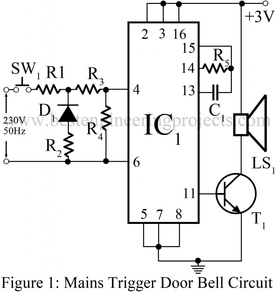 Circuit description of mains trigger music door bell