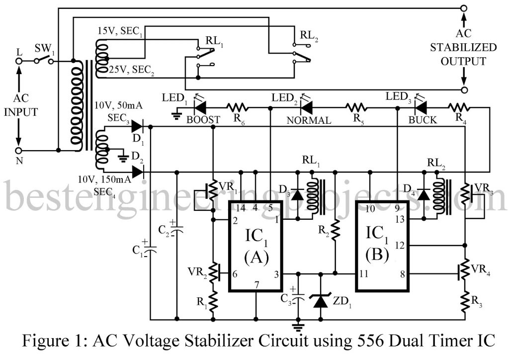 ac voltage stabilizer circuit using 556 ic best engineering projects rh bestengineeringprojects com voltage stabilizer circuit diagram pdf voltage stabilizer circuit diagram pdf