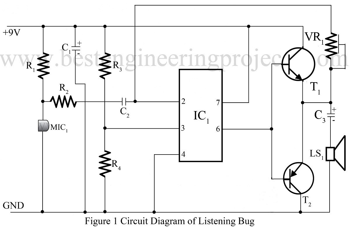 Listening Bug Using Op Amp 741