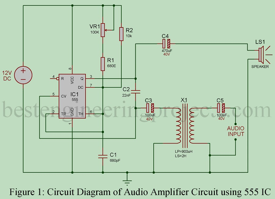 Timer IC 555 based audio amplifier IC