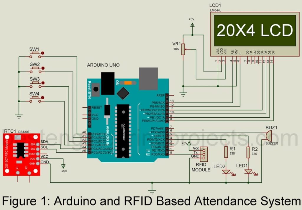 arduino and rfid based attendance system circuit