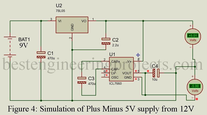 simulation of plus minus 5V supply