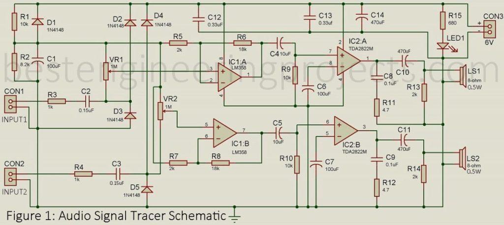 dual audio signal tracer schematic