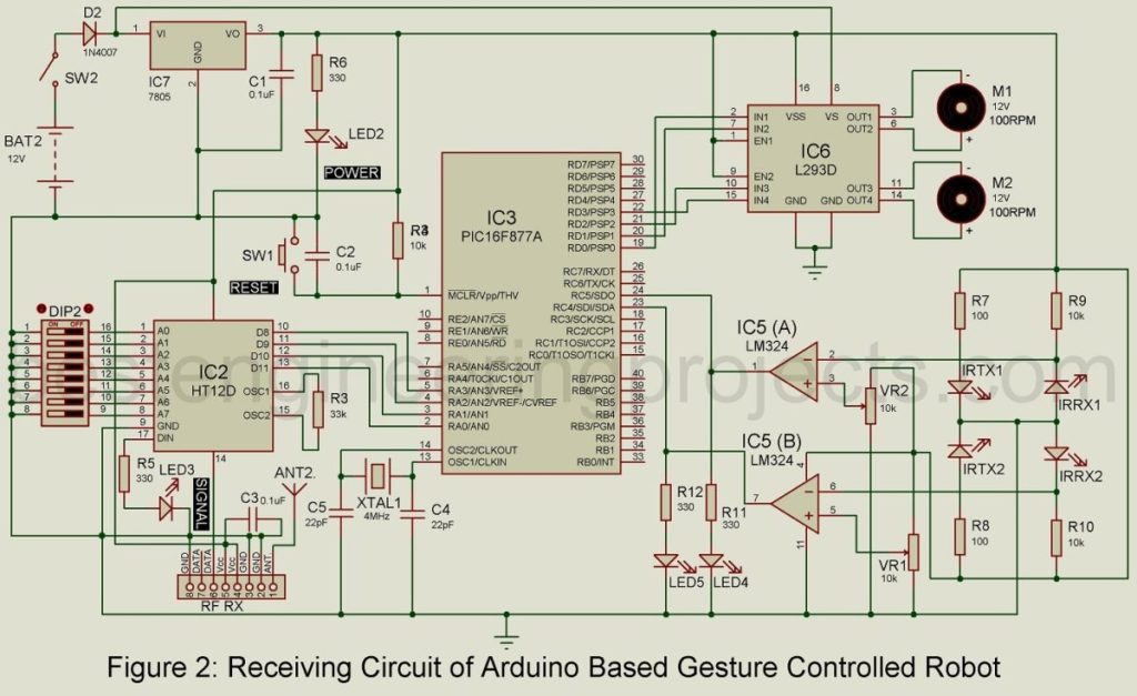receiver section of arduino gesture controlled robot