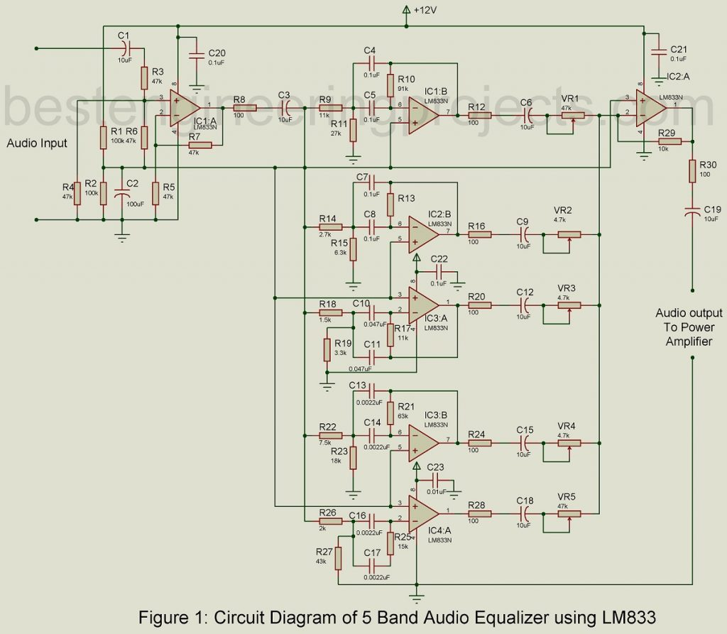 5 band audio equalizer circuit using lm833