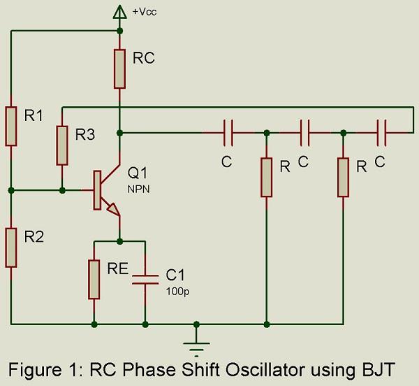 rc phase shift oscillator using bjt