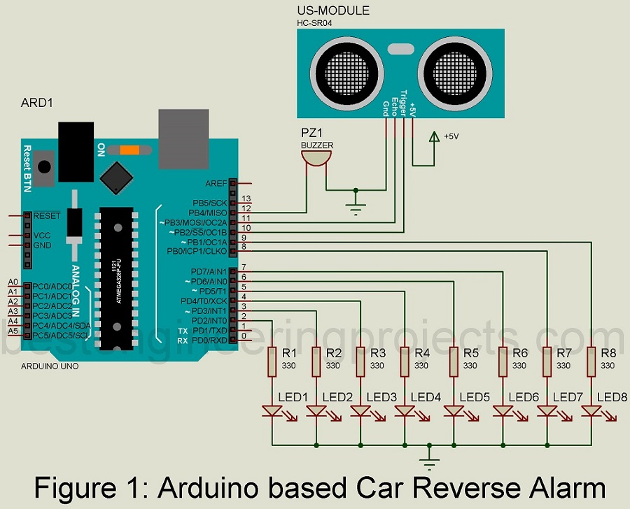 car reverse alarm using arduino
