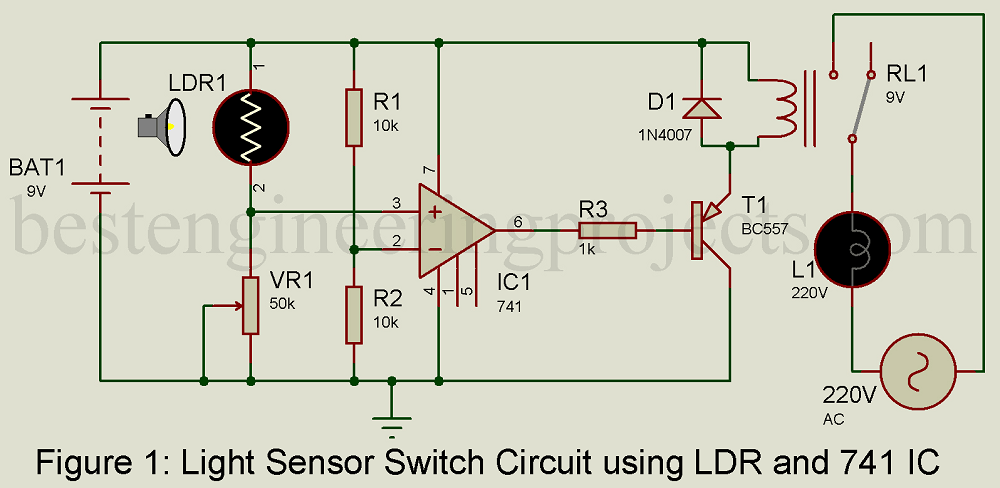 Light Sensor Switch Circuit using LDR and 741 IC - Best Engineering ...