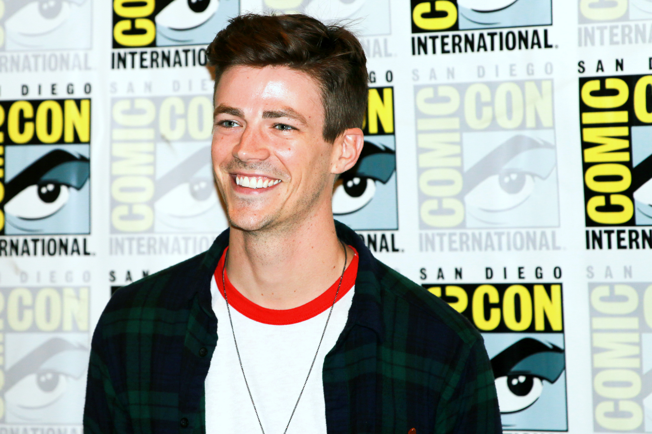Grant Gustin at SDCC 2018. Credit: Alyssa Rasmus/Pink Camera Media