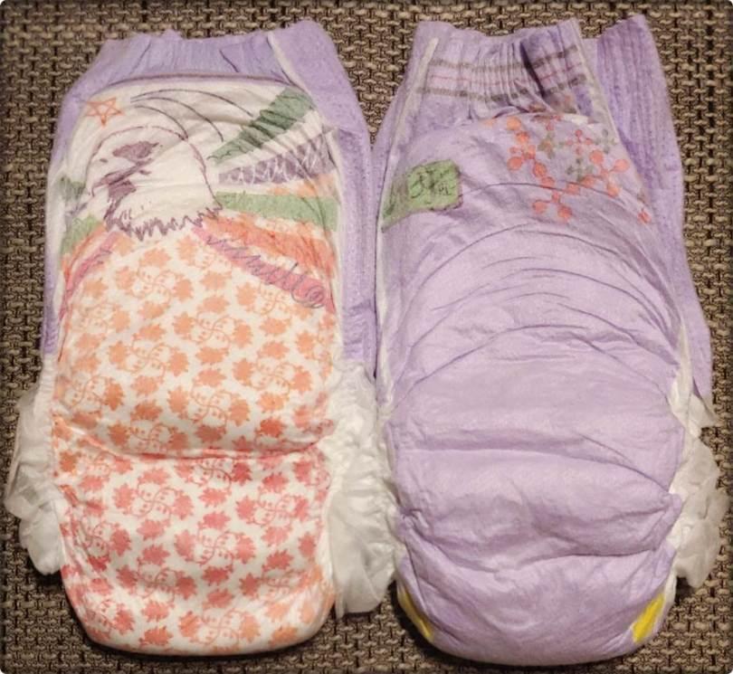 Die Vorderseite beider Motive der Pampers UnderJams Pyjama Pants Girls L XL