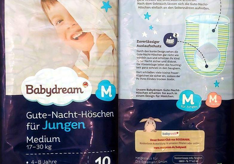 Einzelpack Vorder- und Rückseite der Babydream Gute-Nacht-Höschen Boys 4-8 Jahre