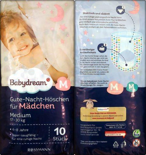 Einzelpack Vorder- und Rückseite der Babydream Gute-Nacht-Höschen Girls 4-8 Jahre