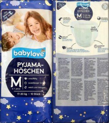Einzelpack Vorder- und Rückseite der Babylove Pyjama-Höschen 4-7 Jahre