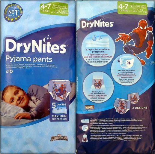 Einzelpack Vorder- und Rückseite der DryNites pyjama pants Boys 4-7 Years