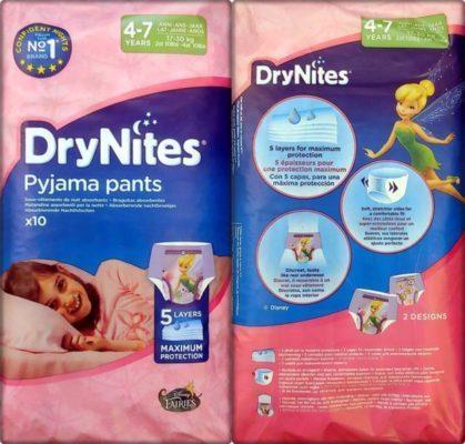Einzelpack Vorder- und Rückseite der DryNites pyjama pants Girls 4-7 Years