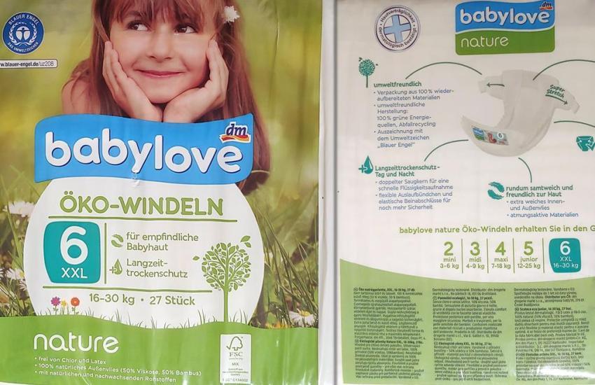 Einzelpack Vorder- und Rückseite der Babylove Öko-Windeln Größe 6 XXL