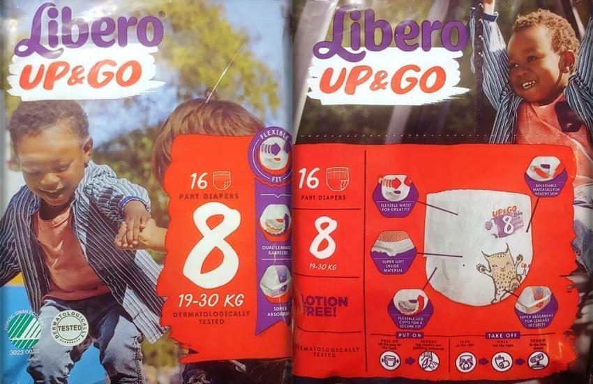 Einzelpack Vorder- und Rückseite der Libero Up&Go Pants Größe 8