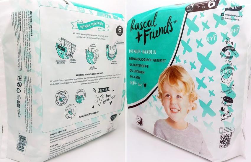 Einzelpack Vorder- und Rückseite der Rascal + Friends Premium Windeln Größe 6