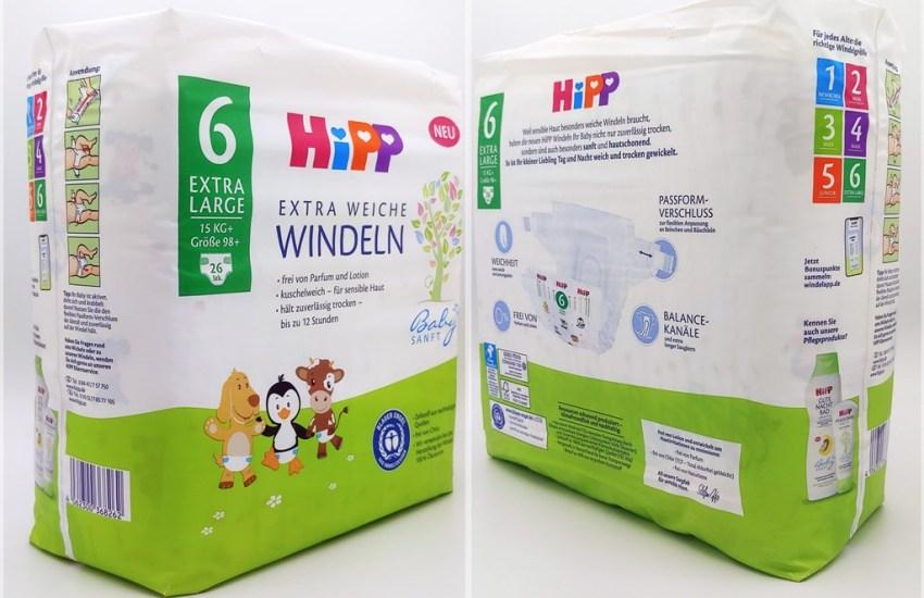 Einzelpack Vorder- und Rückseite der Hipp Babysanft Windeln Größe 6