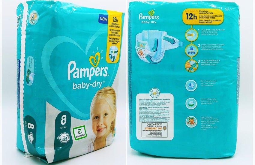 Einzelpack Vorderseite der Pampers baby-dry Größe 8