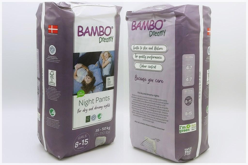 Einzelpackung Vorder- und Rückseite der Bambo Dreamy Night Pants Girls 8-15 Years