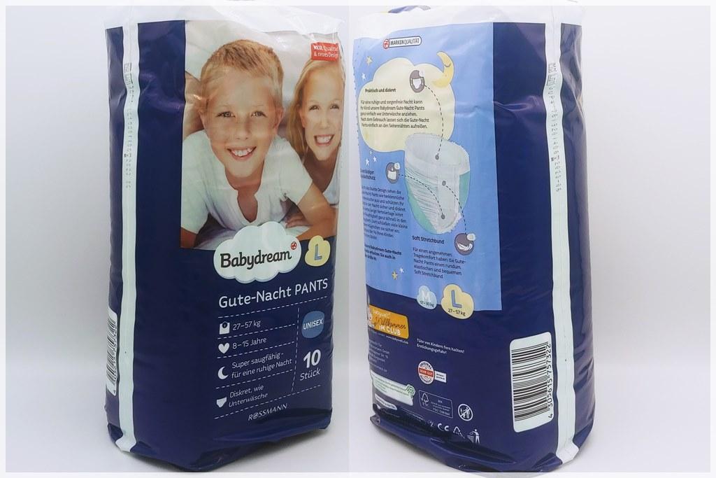 Einzelpackung Vorder- und Rückseite der Babydream Gute-Nacht-Pants L 8-15 Jahre