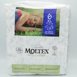 Einzelpackung Vorderseite der Moltex Pure and Nature Windeln Gr. 6 XL