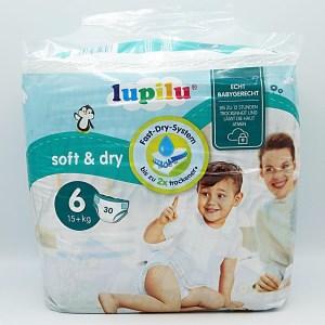 Einzelpackung Vorderseite der Lupilu soft & dry Windeln Größe 6
