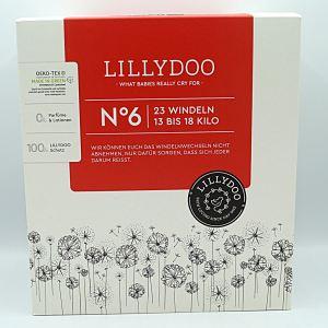 Einzelpackung Vorderseite des Kartons der Lillydoo Windeln Größe 6 im Test