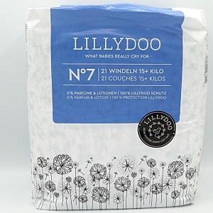 Einzelpackung Vorderseite der Lillydoo Windeln Größe 7 im Test