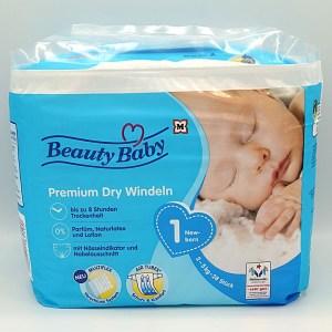 Verpackungsvorderseite der Beauty Baby Premium Dry Windeln Größe 1 im Test der Windeln für Neugeborene