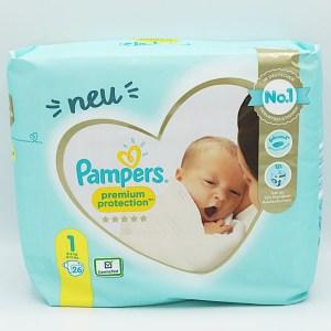 Verpackungsvorderseite der Pampers premium protection 1 im Test der Windeln für Neugeborene