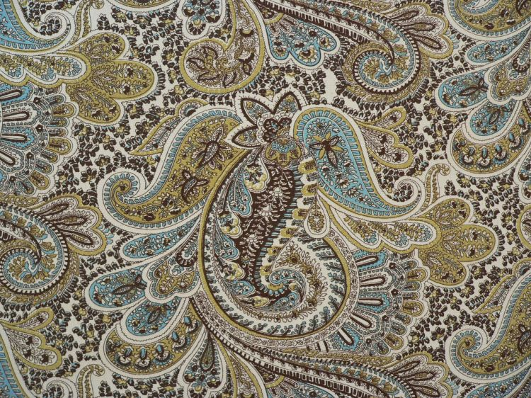 remnant paisley chocolate natural fabric