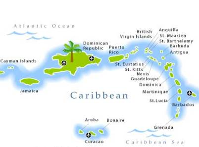 Family Beach Vacations Map of the Caribbean
