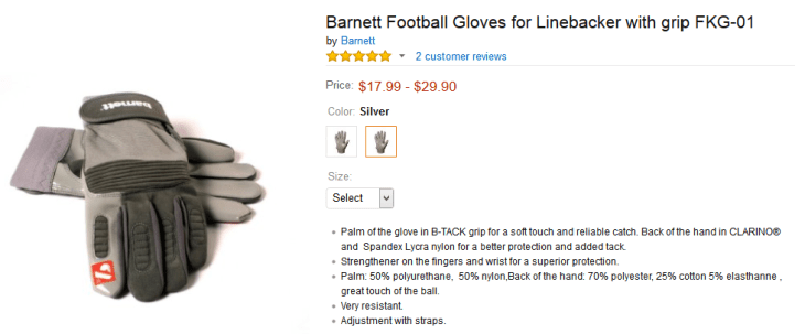 football linebacker gloves