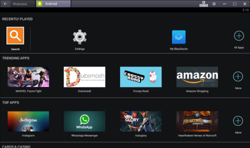 BlueStacks - Homescreen - Android Apps On PC