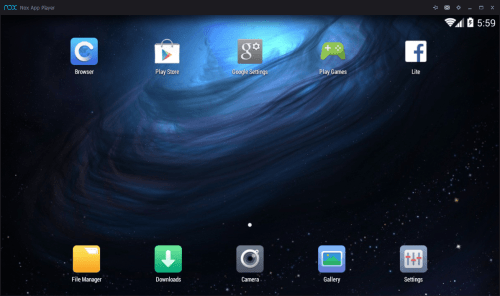 Nox App Player - Homescreen Landscape - Running Android Apps On PC