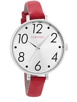 Ferenzi Women's Large Modern Easy Read Silver Face Thin Red Band Watch