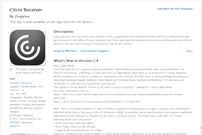 Download Citrix Receiver for iPad
