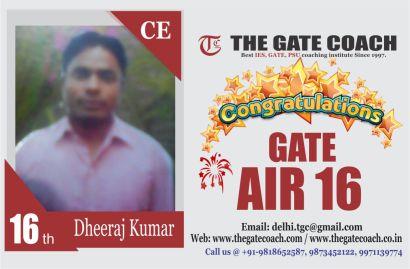GATE 2016 Topper AIR 16
